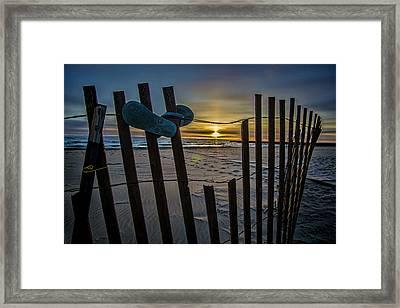 Flip Flops On A Beach At Sun Rise Framed Print by Sven Brogren