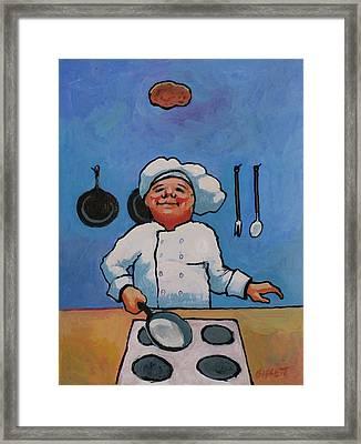Flipping Pancakes Framed Print by Robert Bissett