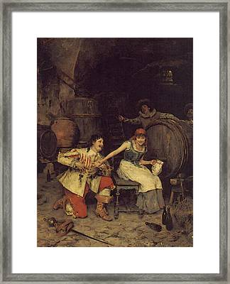 Flirtation In The Wine Cellar Framed Print