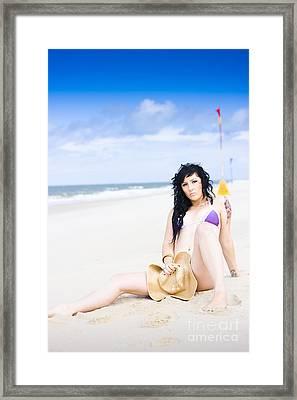Flirtatious Beach Portrait Framed Print