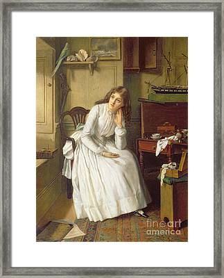 Flo Dombey In Captain Cuttle's Parlour Framed Print by William Maw Egley