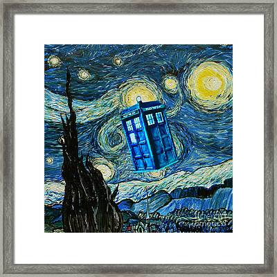 Floated Blue Phone Box Framed Print by Three Second