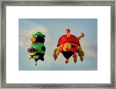 Floating Aerial Photographer And The Smiling Crab Framed Print by Bob Orsillo