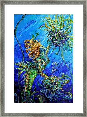 Floating Blond Mermaid Framed Print