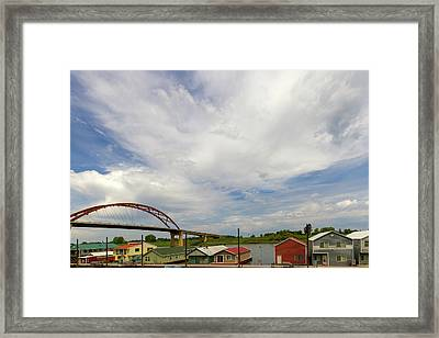 Floating Boat House Living By Sauvie Island Framed Print by David Gn