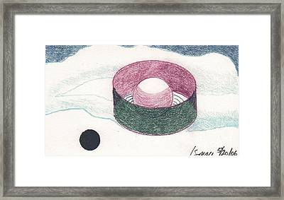 Framed Print featuring the drawing Floating Can With Black Sun by Rod Ismay