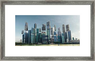 Floating City Framed Print by Andrew Kow