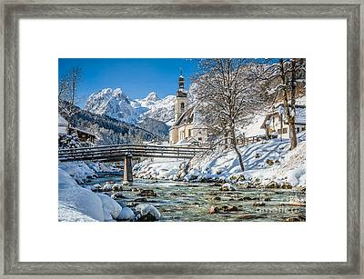 Floating Down The Winter Wonderland River Framed Print
