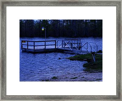 Floating Fishing Boat Dock Framed Print by Bill Perry