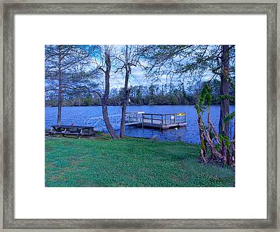 Floating Fishing Dock Framed Print by Bill Perry