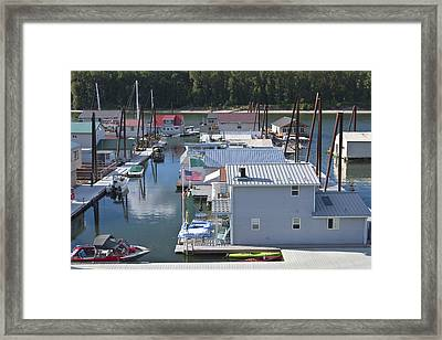 Floating Houses Residing On The Columbia River. Framed Print by Gino Rigucci