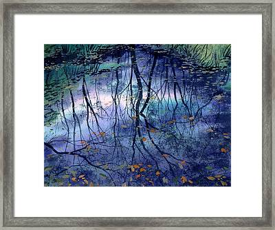Framed Print featuring the painting Floating Leaves by Sergey Zhiboedov