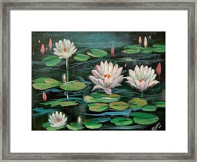 Floating Lillies Framed Print by Sai Shyamala Ramanand