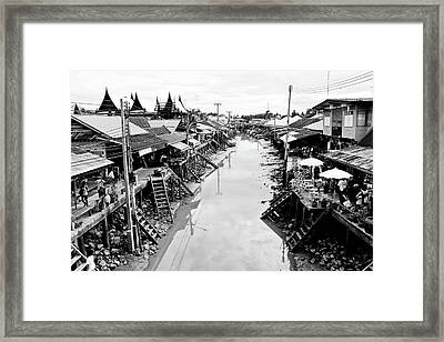 Floating Market In Thailand Framed Print by Sarayut Mathavetchathum
