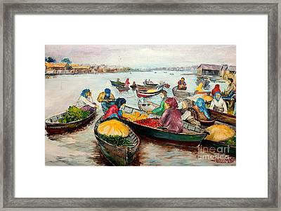 Floating Market Framed Print