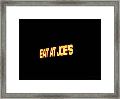 Floating Neon - Eat At Joes Framed Print