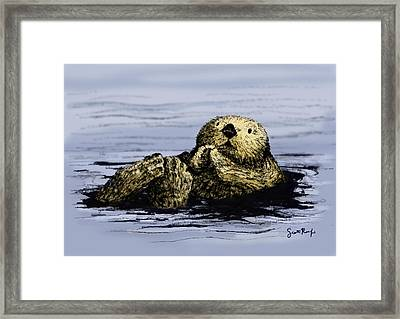 Floating Otter Framed Print by Scott Rolfe