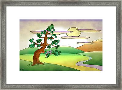 Floating World Cat In Gray Framed Print