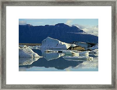 Floatting Field Of Icebergs In Iceland Framed Print by Sami Sarkis