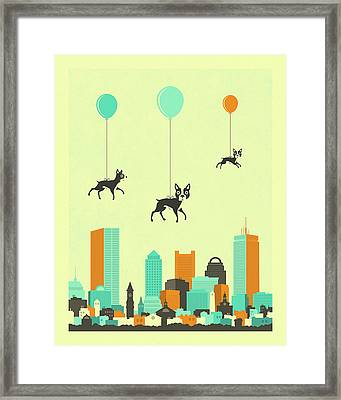 Flock Of Boston Terriers  Framed Print by Jazzberry Blue