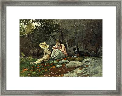 Flock Of Sheep Houghton Farm Framed Print by Winslow Homer