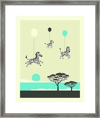 Flock Of Zebras - 1 Framed Print