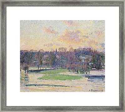 Flood At Sunset Framed Print by Camille Pissarro