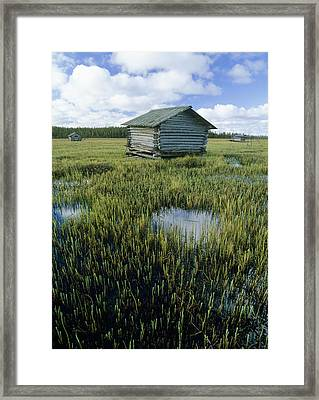 Flooded Meadow With Sauna Hut Framed Print by Bjorn Svensson