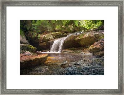 Flooded Waterfall In The Forest Framed Print