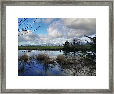 Framed Print featuring the photograph Flooding River, Field And Clouds by Chriss Pagani