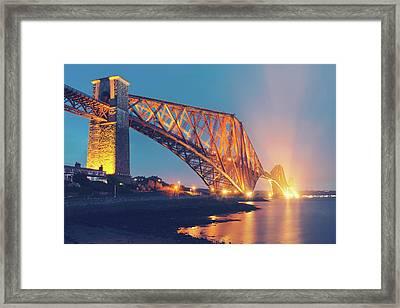Floodlit Forth Bridge Framed Print by Ray Devlin
