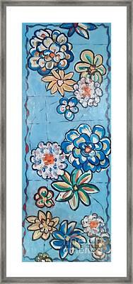 Floor Cloth Blue Flowers Framed Print