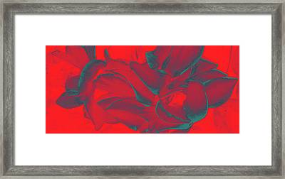 Floral Abstract In Dramatic Red Framed Print
