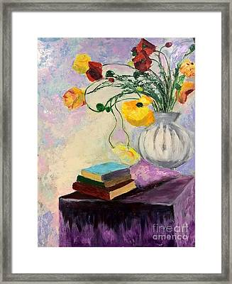 Framed Print featuring the painting Floral Abstract by Nicolas Bouteneff