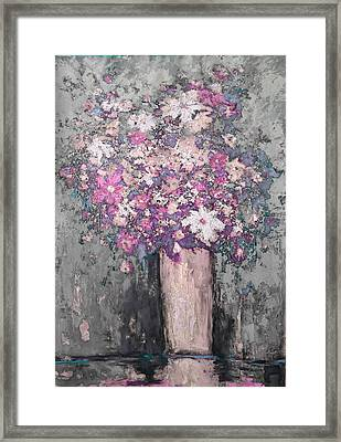Floral Abstract - Reverse - Modern Impressionist Palette Knife Work Framed Print by Patricia Awapara