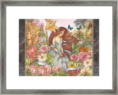 Floral Angel Glamorous Botanical Framed Print