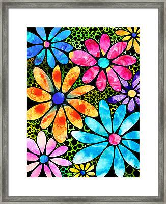 Floral Art - Big Flower Love - Sharon Cummings Framed Print by Sharon Cummings