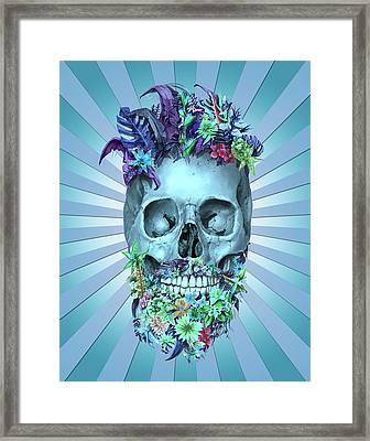Floral Beard Skull 2 Framed Print