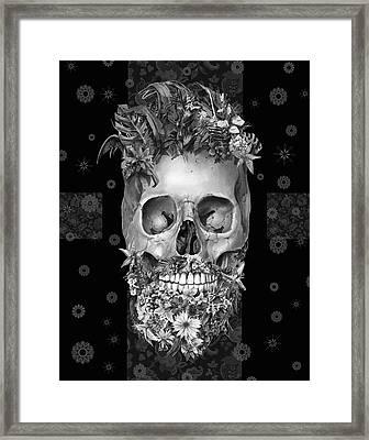 Floral Beard Skull 3 Framed Print