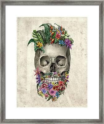 Floral Beard Skull Framed Print