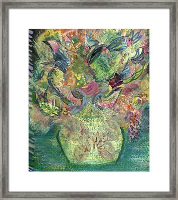 Floral Bouquet Green Framed Print by Anne-Elizabeth Whiteway