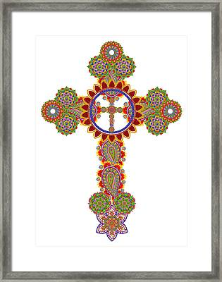 Floral Celtic Cross  Framed Print by Aleksandr Volkov