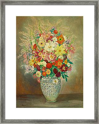 Floral Composition With Dahlias Framed Print by Henri Lebasque