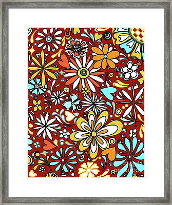 Floral Fiesta II Pattern Flowers And Hearts By Megan Duncanson Framed Print by Megan Duncanson