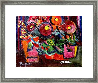 Floral Fiesta With Hola Framed Print