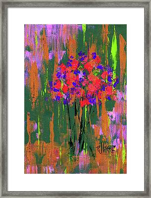 Framed Print featuring the painting Floral Impresions by P J Lewis