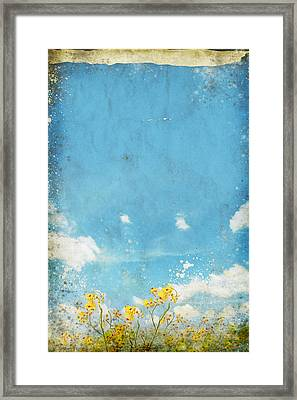 Floral In Blue Sky And Cloud Framed Print