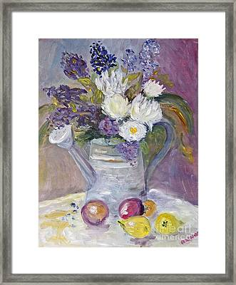 Floral In Watering Can Framed Print
