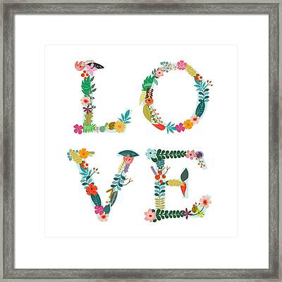 Floral Love Letters Framed Print by Amanda Lakey