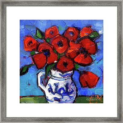 Floral Miniature - Abstract 0515 - Red Poppies Framed Print